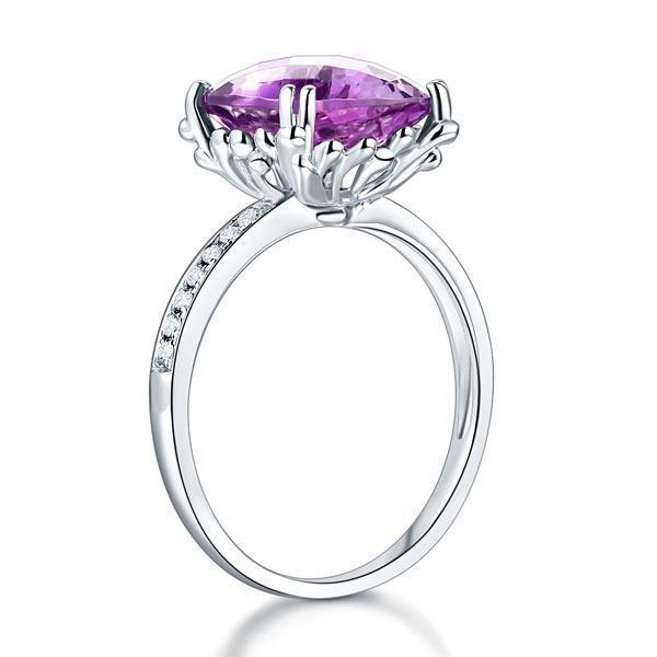 Amethyst (3.5ct) Ring in 14k White Gold with Diamonds (0.1ct) 14K Gold Engagement Rings Oanthan
