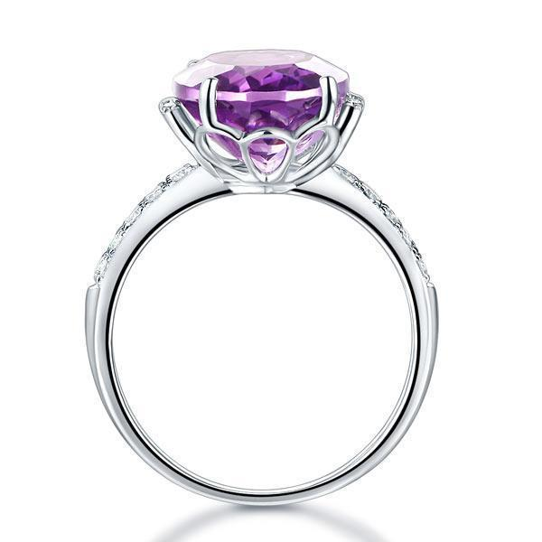 Amethyst (5.75ct) Ring in 14k White Gold with Diamonds (0.22ct) 14K Gold Engagement Rings Oanthan