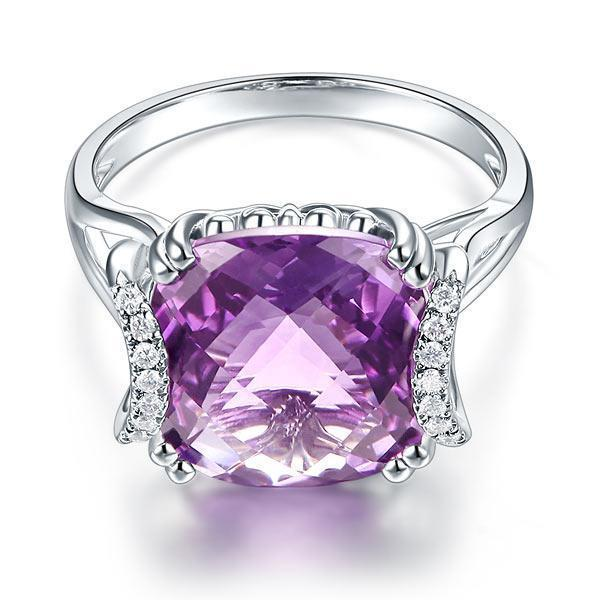 Amethyst (6.4ct) Ring in 14k White Gold with Diamonds (0.1ct) 14K Gold Engagement Rings Oanthan