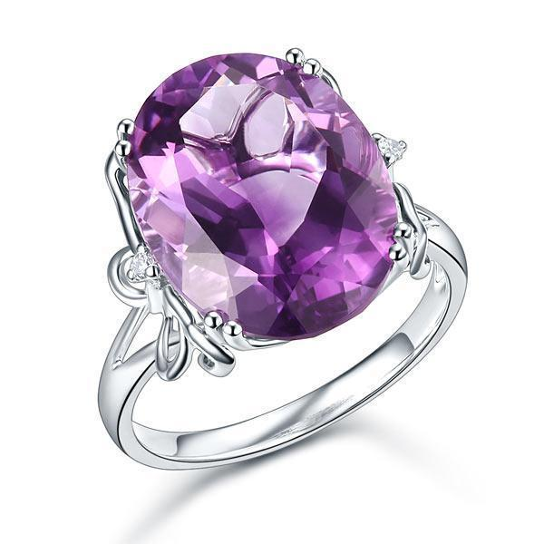 Amethyst (8.3ct) Ring in 14k White Gold with Diamonds (0.03ct) 14K Gold Engagement Rings Oanthan 14k White Gold US Size 4