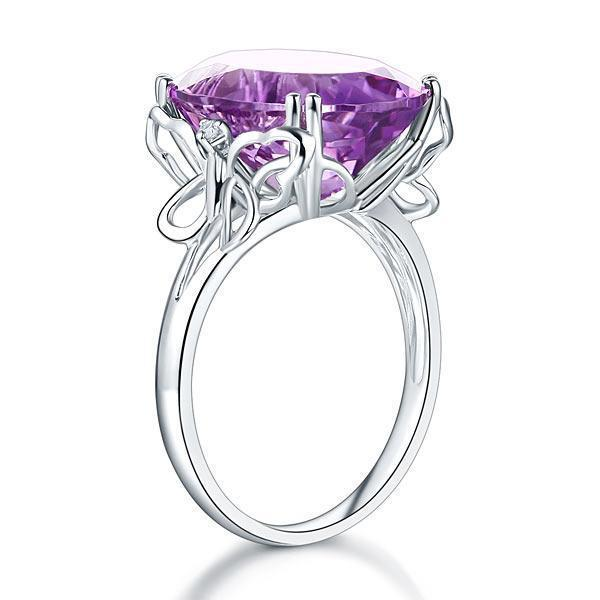 Amethyst (8.3ct) Ring in 14k White Gold with Diamonds (0.03ct) 14K Gold Engagement Rings Oanthan