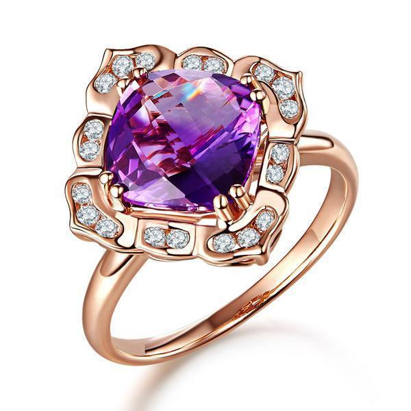 Amethyst Art-Deco (2.65ct) Ring in 14k Rose Gold with Diamonds (0.17ct) 14K Gold Engagement Rings Oanthan 14k White Gold US Size 4