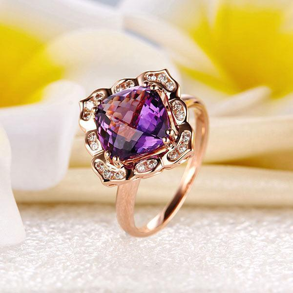 Amethyst Art-Deco (2.65ct) Ring in 14k Rose Gold with Diamonds (0.17ct) 14K Gold Engagement Rings Oanthan