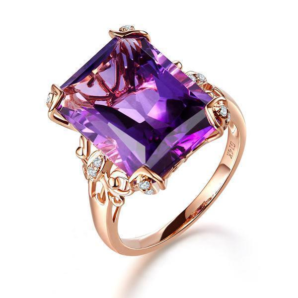 Amethyst Art-Deco Vintage-Style (10.5ct) Ring in 14k Rose Gold with & Diamonds (0.13ct) 14K Gold Engagement Rings Oanthan 14k White Gold US Size 4