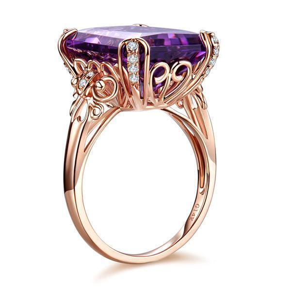 Amethyst Art-Deco Vintage-Style (10.5ct) Ring in 14k Rose Gold with & Diamonds (0.13ct) 14K Gold Engagement Rings Oanthan