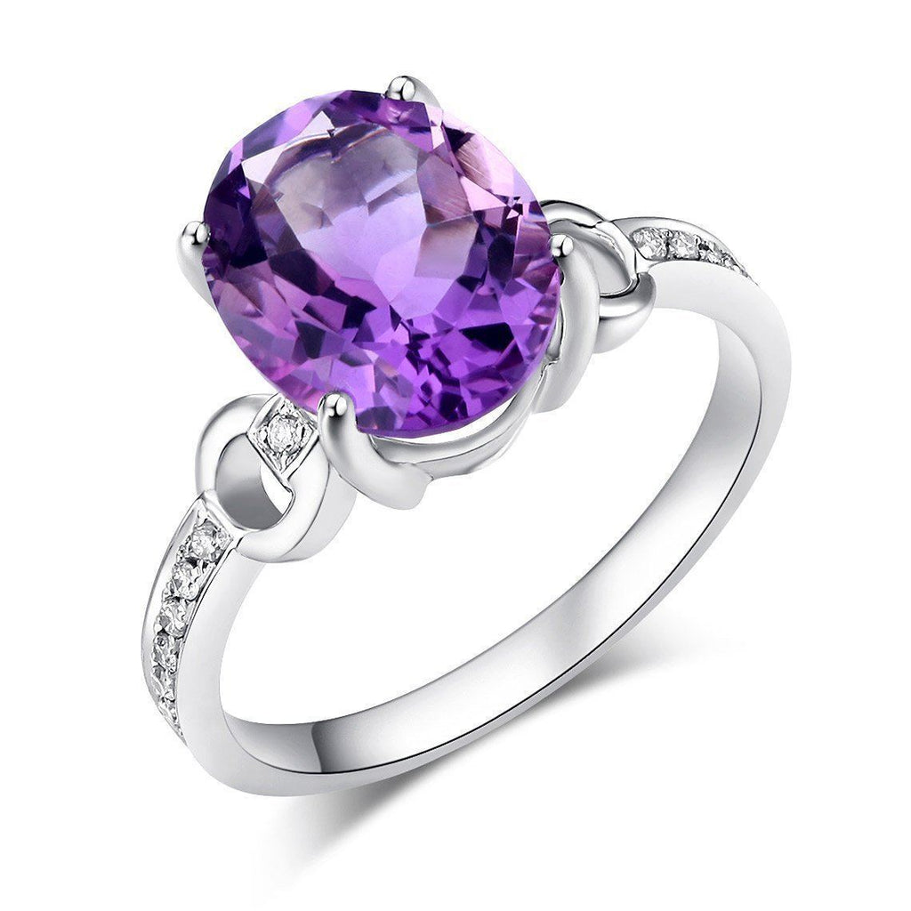 Amethyst Ring (3.5ct) in 14k White Gold with Diamonds (0.097ct) 14K Gold Engagement Rings Oanthan 14k White Gold US Size 4
