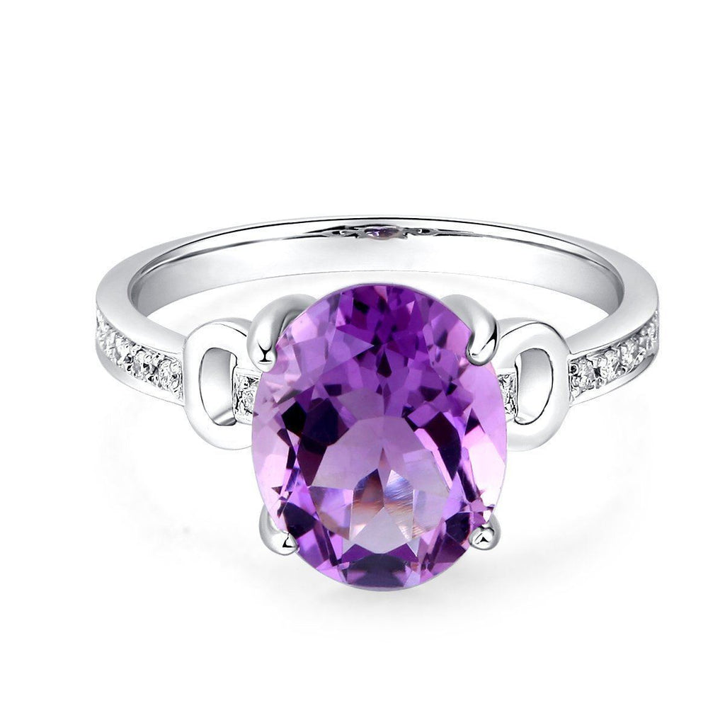 Amethyst Ring (3.5ct) in 14k White Gold with Diamonds (0.097ct) 14K Gold Engagement Rings Oanthan