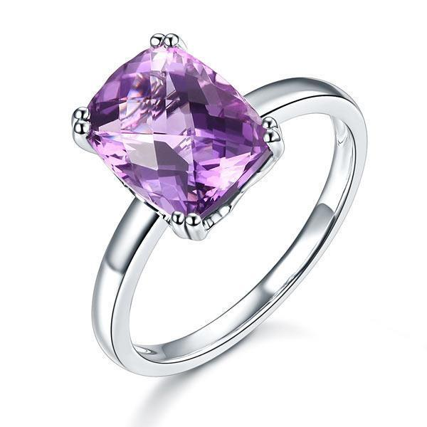 Amethyst Ring in 14k White Gold (3.2ct) 14K Gold Engagement Rings Oanthan 14k White Gold US Size 4
