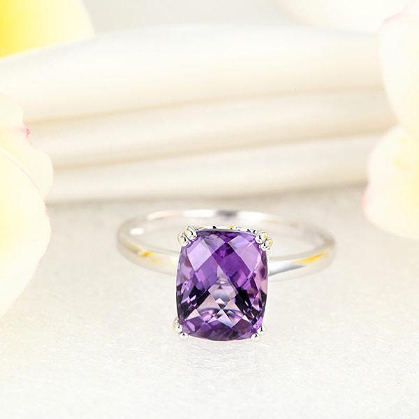 Amethyst Ring in 14k White Gold (3.2ct) 14K Gold Engagement Rings Oanthan
