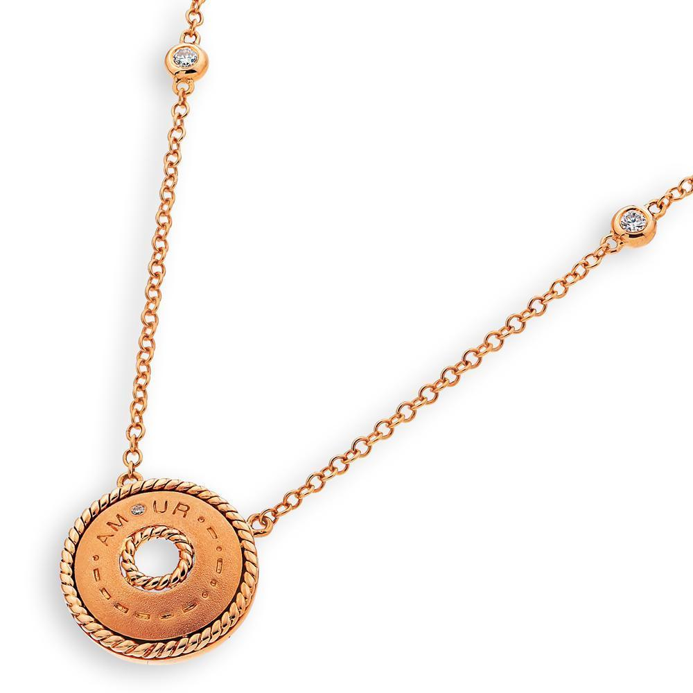 Amour Necklace in 18k Rose Gold with Diamonds (0.05ct) Necklace IAD