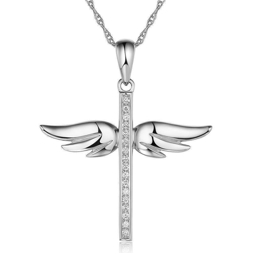 Angel-Wing Cross Pendant in 14k White Gold with Diamonds (0.08ct) 14K Gold Pendants Oanthan