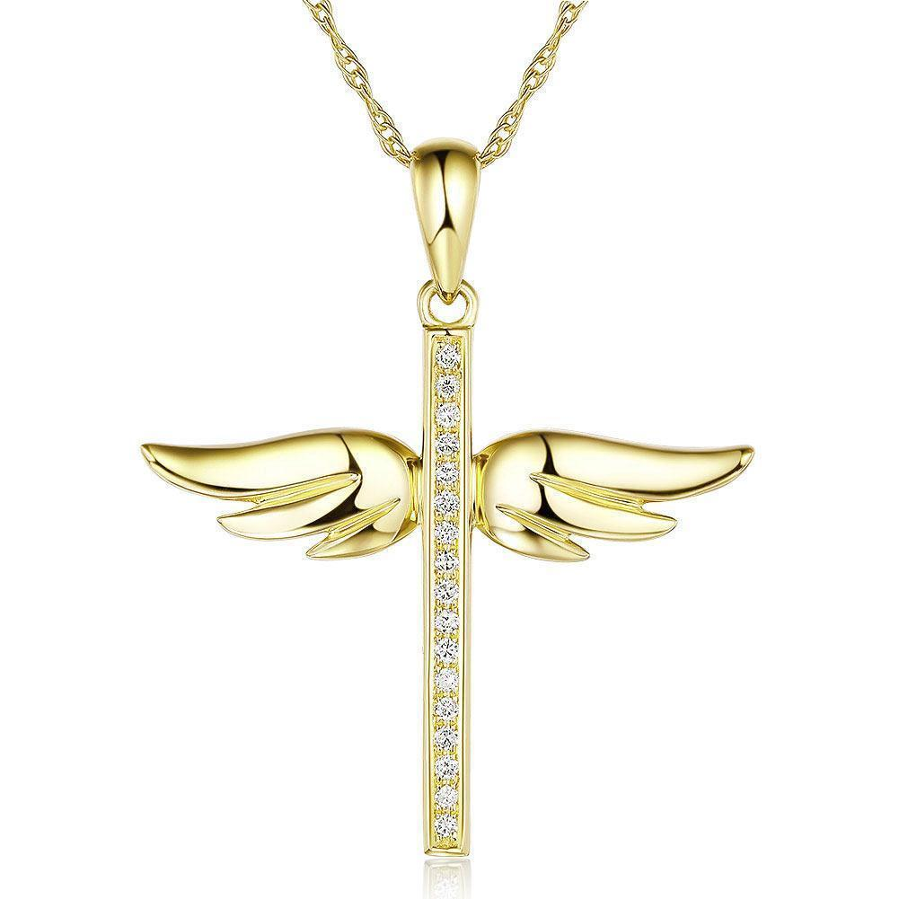 Angel-Wing Cross Pendant in 14k Yellow Gold with Diamonds (0.08ct) 14K Gold Pendants Oanthan