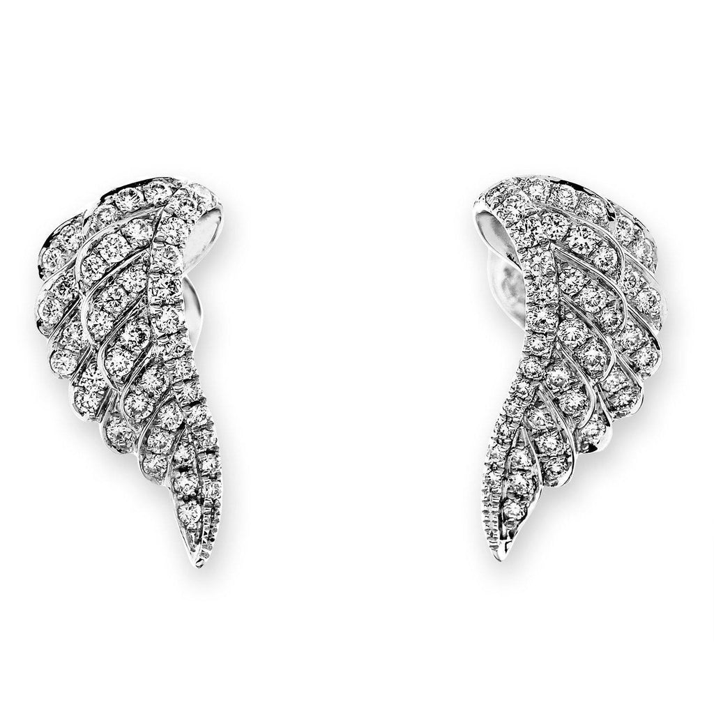 Angel-Wing Earrings in 18k White Gold with Diamonds (0.383ct) Earrings IAD
