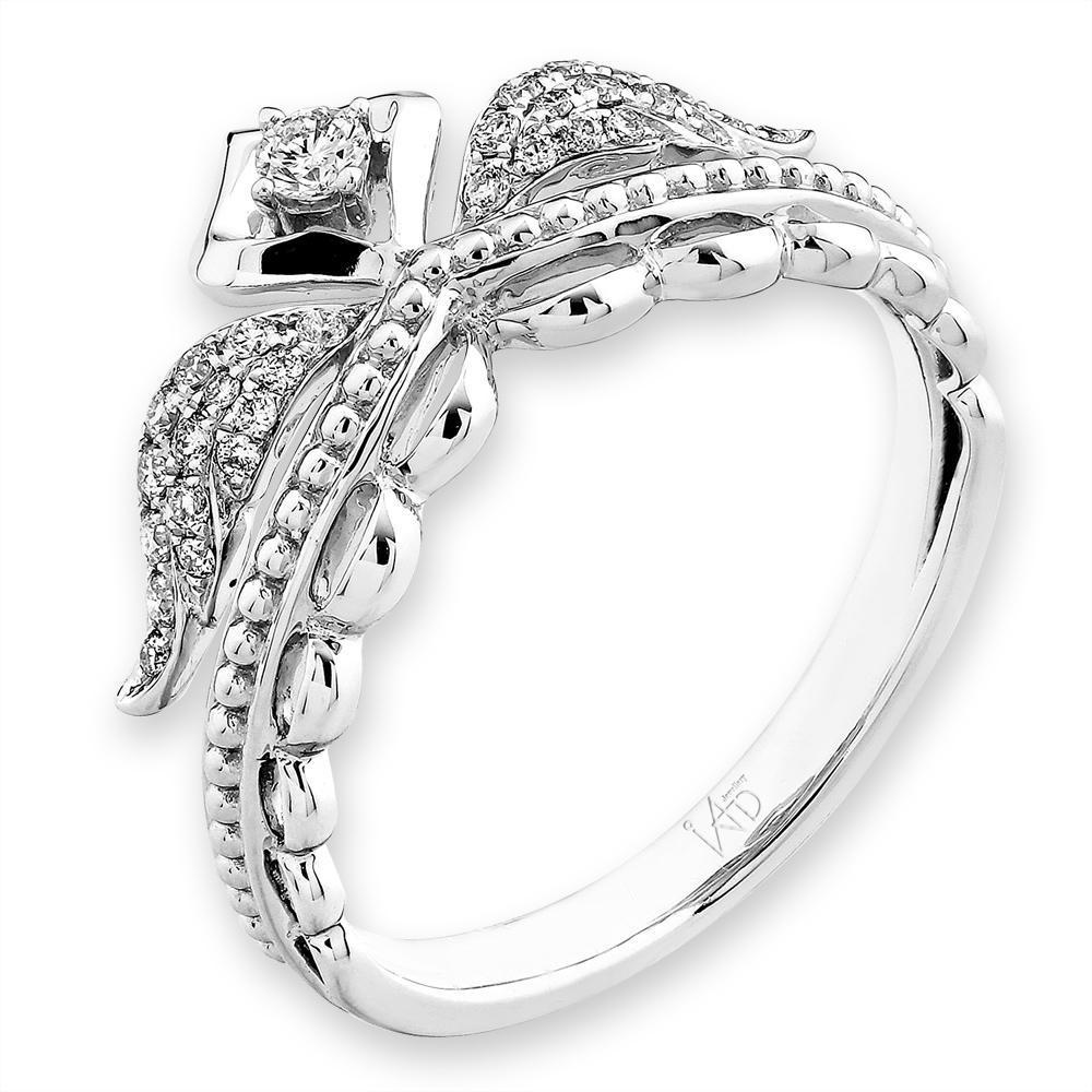 Angel-Wing Ring in 18k White Gold with 0.175ct Diamonds Ring IAD