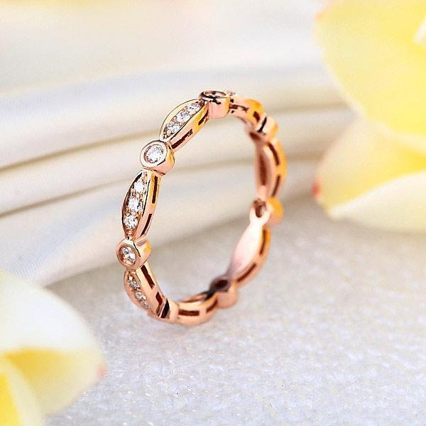 Art-Deco Ring in 14k Rose Gold with Diamonds (0.3ct) Women Wedding Bands Oanthan