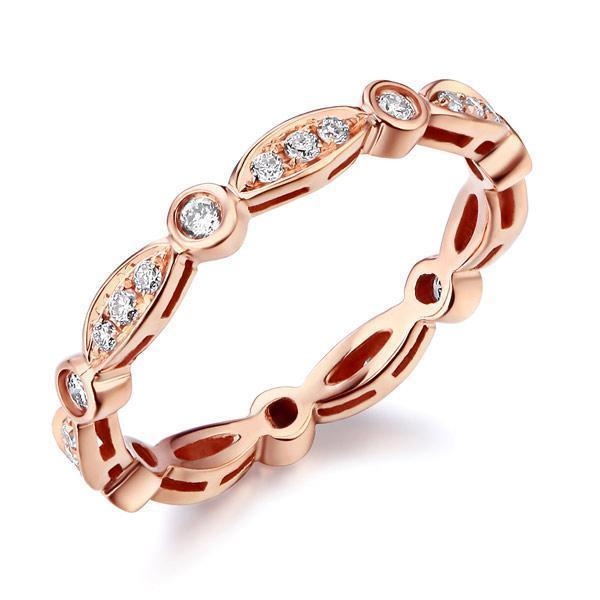 Art-Deco Ring in 14k Rose Gold with Diamonds (0.3ct) Women Wedding Bands Oanthan 14k White Gold US Size 4