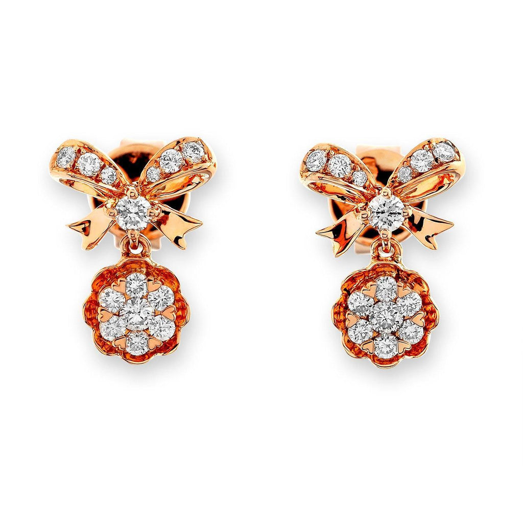 Bow Earrings in 18k Rose Gold with Diamonds (0.284ct) Earrings IAD