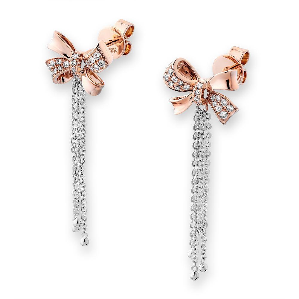 Bow Earrings in 18k Rose & White Gold with Diamonds (0.174ct) Earrings IAD