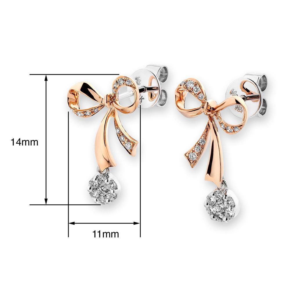 Bow Earrings in 18k Rose & White Gold with Diamonds (0.271ct) Earrings IAD