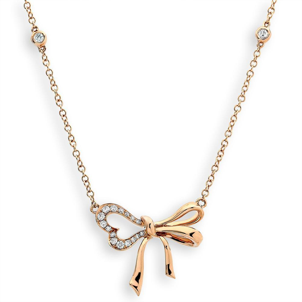 Bow Necklace in 18k Rose Gold with Diamonds (0.179ct) Necklace IAD