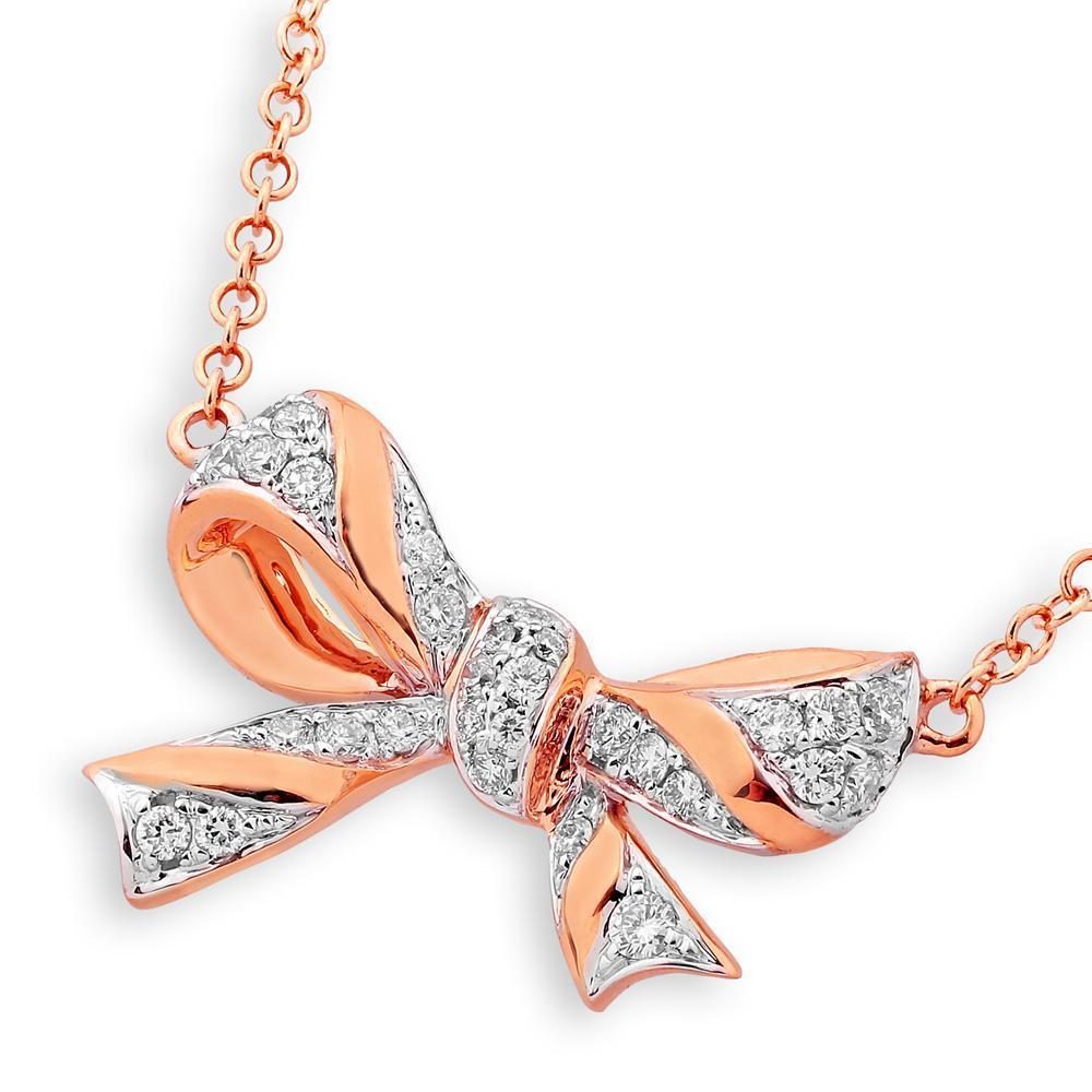 Bow Necklace in 18k Rose Gold with Diamonds (0.188ct) Necklace IAD