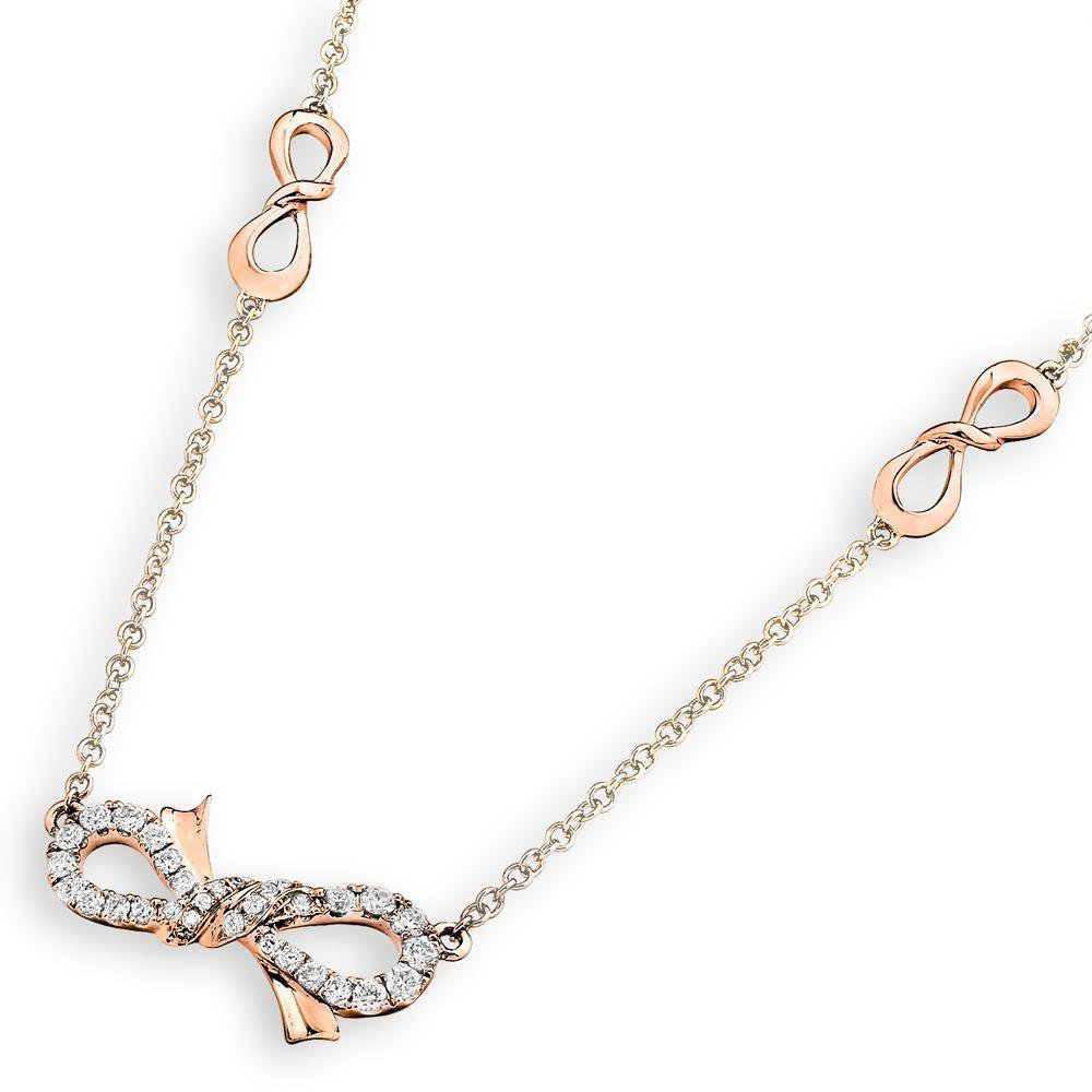 Bow Necklace in 18k Rose Gold with Diamonds (0.296ct) Necklace IAD