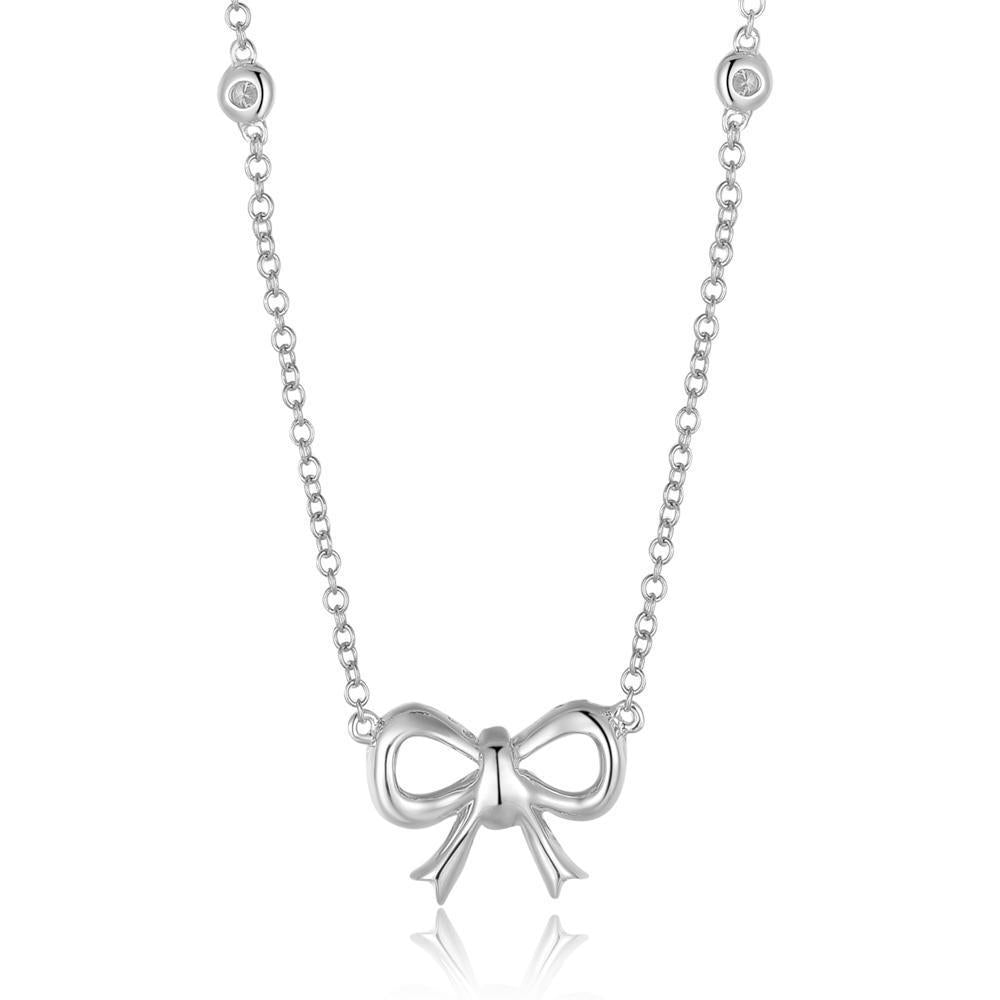 Bow Necklace in 18k White Gold with Diamonds (0.373ct) Necklace IAD