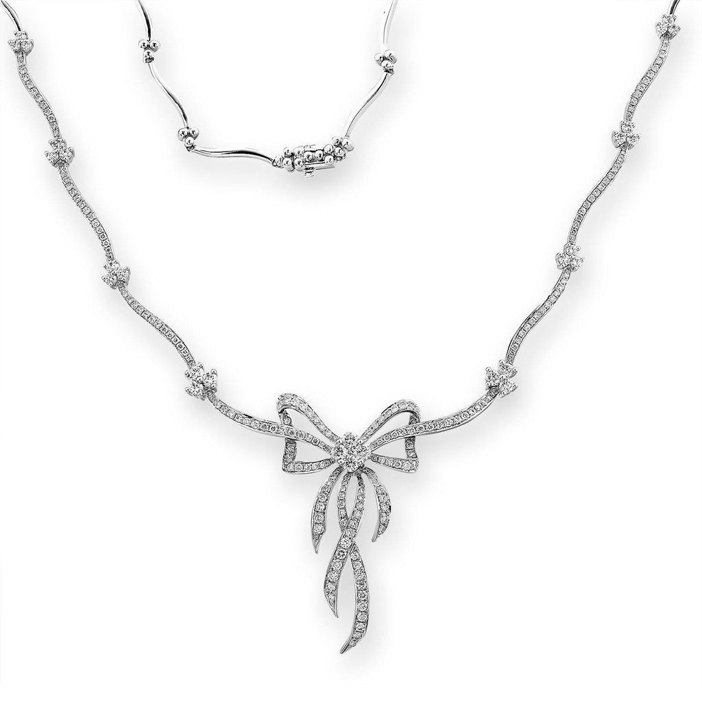 Bow Necklace in 18k White Gold with Diamonds (2.352ct) Necklace IAD