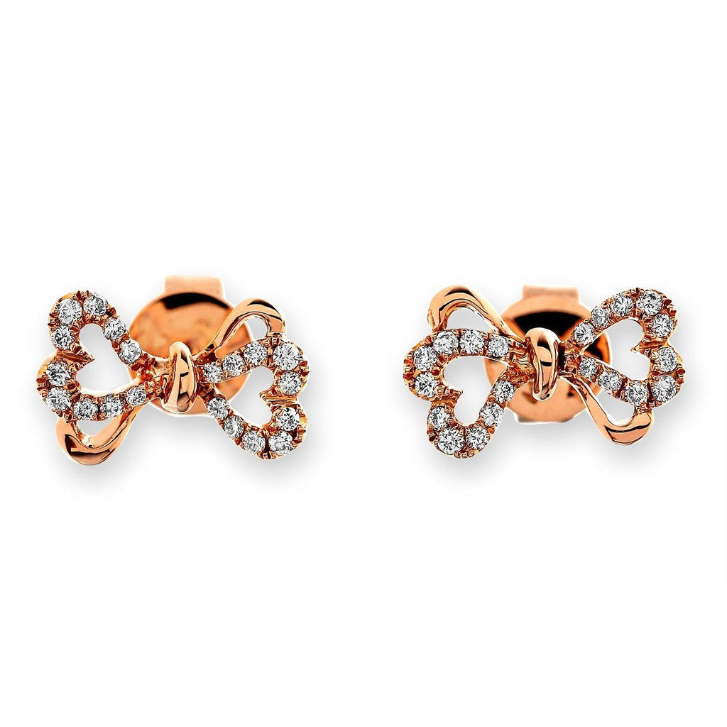 Bow Ribbon Earrings in 18k Rose Gold with Diamonds (0.165ct) Earrings IAD