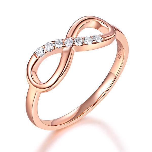 Bow Ring in 14k Rose Gold with Diamonds (0.08ct) Her Wedding Band Oanthan 14k White Gold US Size 4