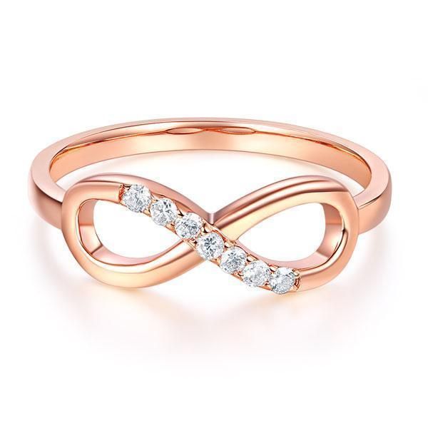 Bow Ring in 14k Rose Gold with Diamonds (0.08ct) Her Wedding Band Oanthan