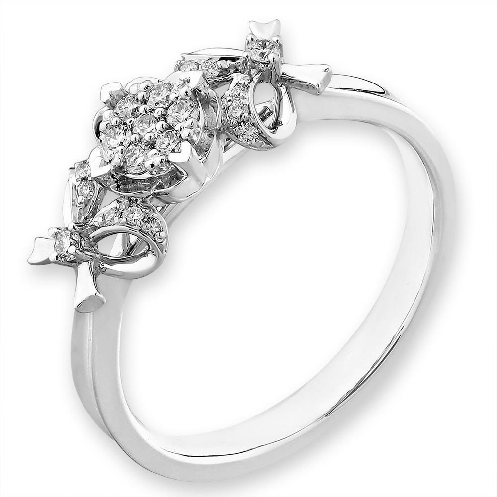Bow Ring in 18k White Gold with Diamonds (0.131ct) Ring IAD
