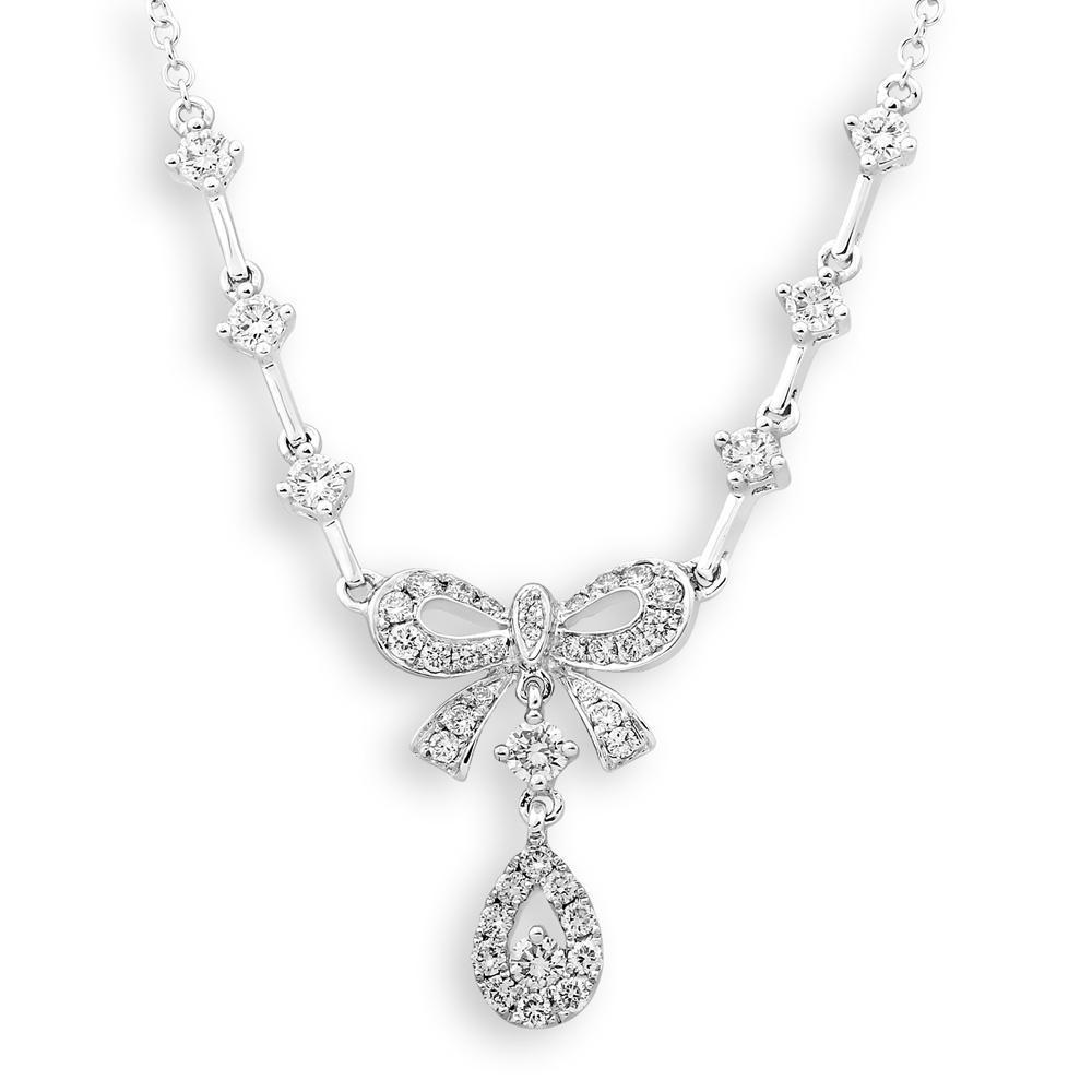 Bow Teardrop Necklace in 18k White Gold with Diamonds (0.656ct ) Necklace IAD