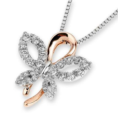 Butterfly Bow Pendant 18k Rose & White Gold with Diamonds (0.342ct ) Pendant IAD