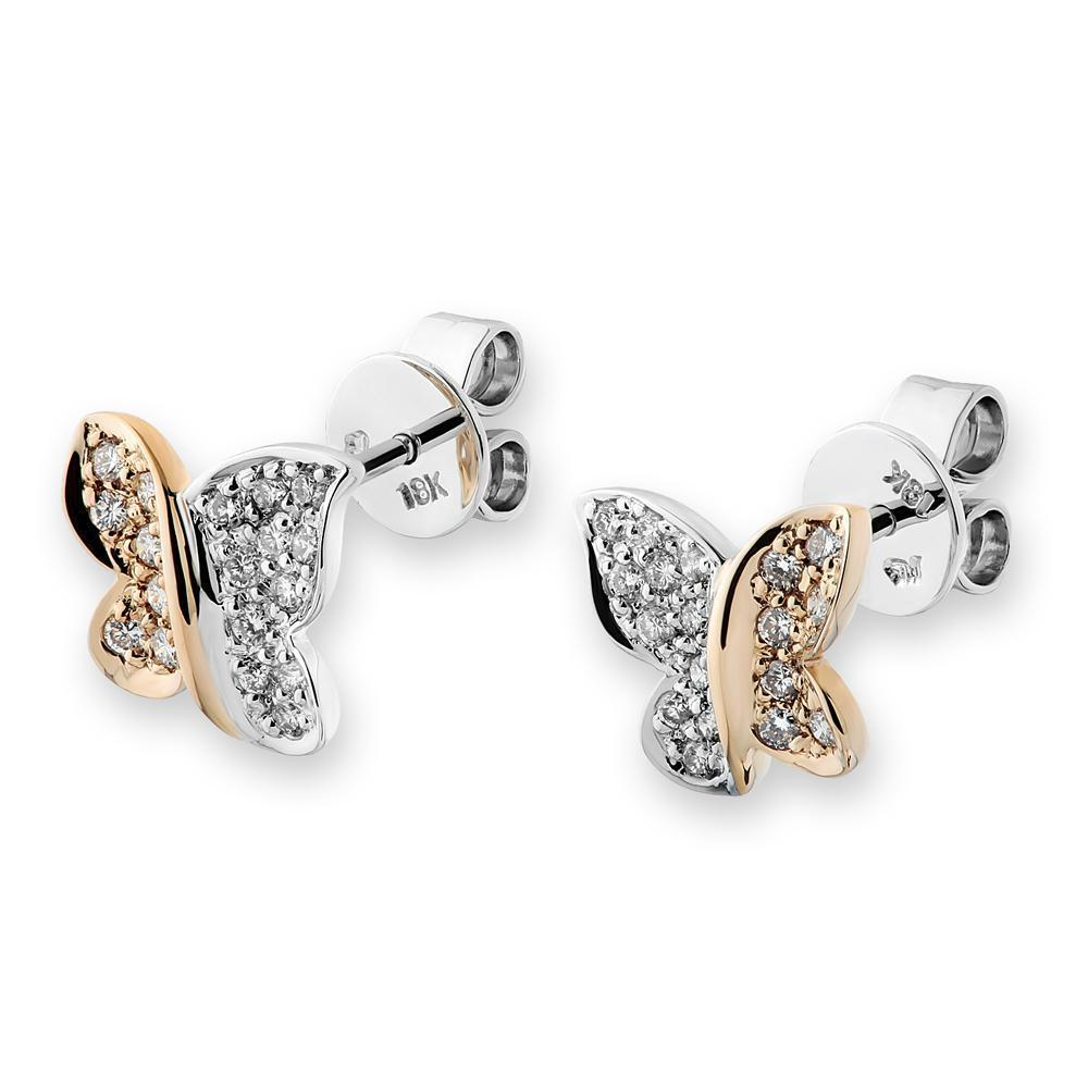 Butterfly Earrings in 18k White & Yellow Gold with Diamonds (0.268ct) Earrings IAD