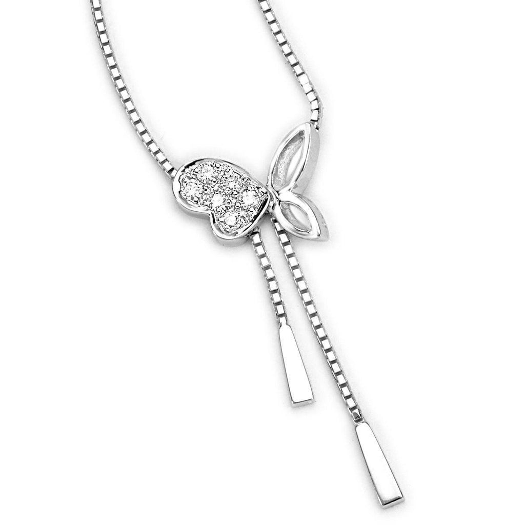 Butterfly Necklace in 18k White Gold with Diamonds (0.058ct) Necklace Olivia Davenport Fine Jewels