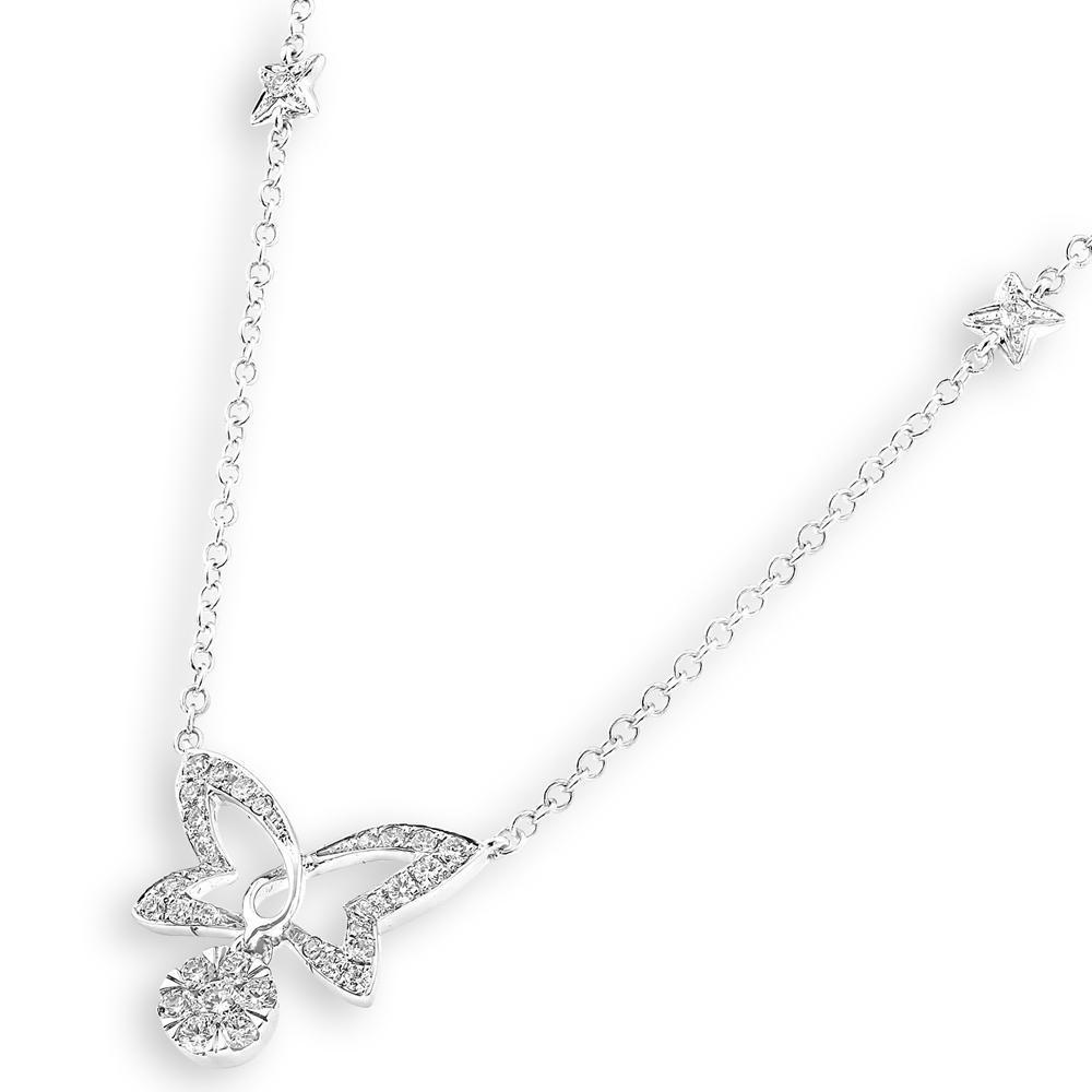 Butterfly Necklace in 18k White Gold with Diamonds (0.291ct) Necklace IAD