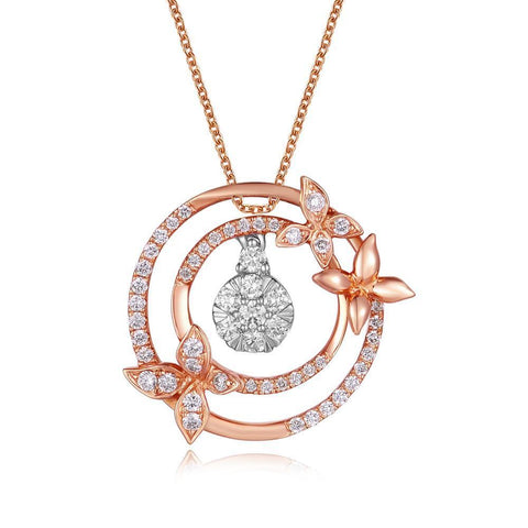Cross Two-Piece Pendant in 18k White & Rose Gold with Diamonds (0.309ct)