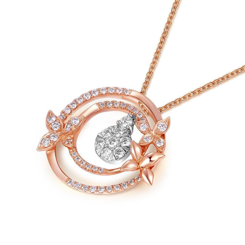Butterfly Pendant in 18k Rose & White Gold with Diamonds (0.428ct) Pendant IAD