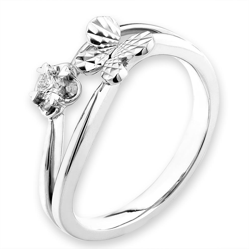 Butterfly Ring in 18k White Gold with Diamonds (0.065ct) Ring IAD