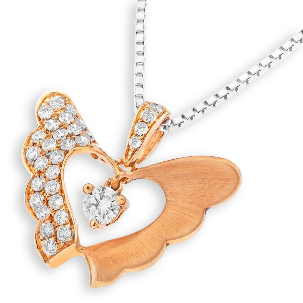 Butterfly Two-Piece Pendant in 18k Rose Gold with Diamonds (0.286ct) Pendant IAD