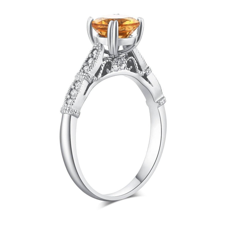 Citrine (1.2ct) Ring in 14k White Gold with Diamonds (0.1ct) 14K Gold Engagement Rings Oanthan 14k White Gold US Size 4