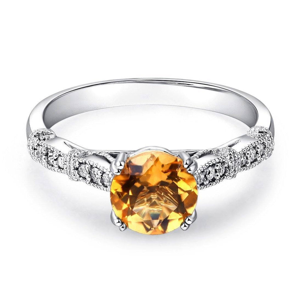 Citrine (1.2ct) Ring in 14k White Gold with Diamonds (0.1ct) 14K Gold Engagement Rings Oanthan