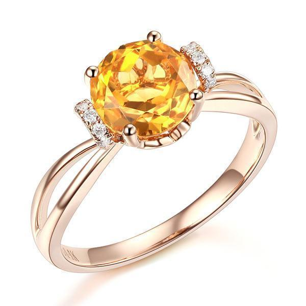 Citrine (1.8ct) Ring in 14k Rose Gold with Diamonds (0.1ct) 14K Gold Engagement Rings Oanthan 14k White Gold US Size 4