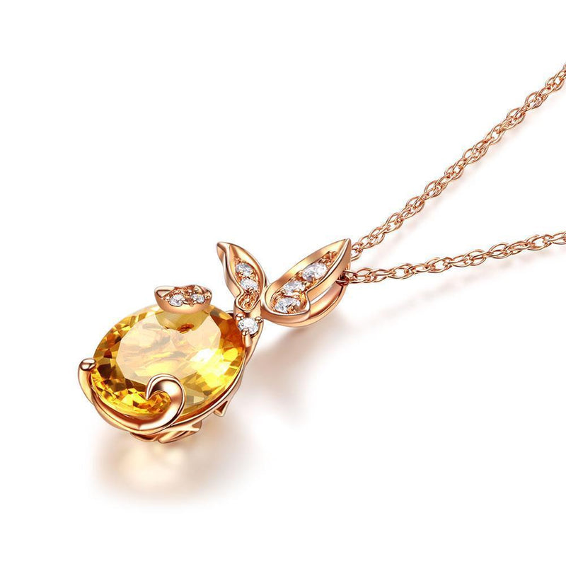Citrine (2ct) Pendant in 14K Rose Gold with Diamonds (0.11ct) 14K Gold Pendants Oanthan