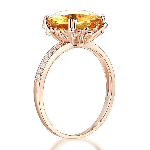Citrine (3.6ct) Ring in 14k Rose Gold with Diamonds (0.1ct) 14K Gold Engagement Rings Oanthan
