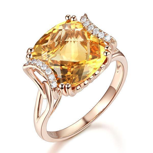 Citrine (6ct) Ring in 14k Rose Gold with Diamonds (0.1ct) 14K Gold Engagement Rings Oanthan 14k White Gold US Size 4