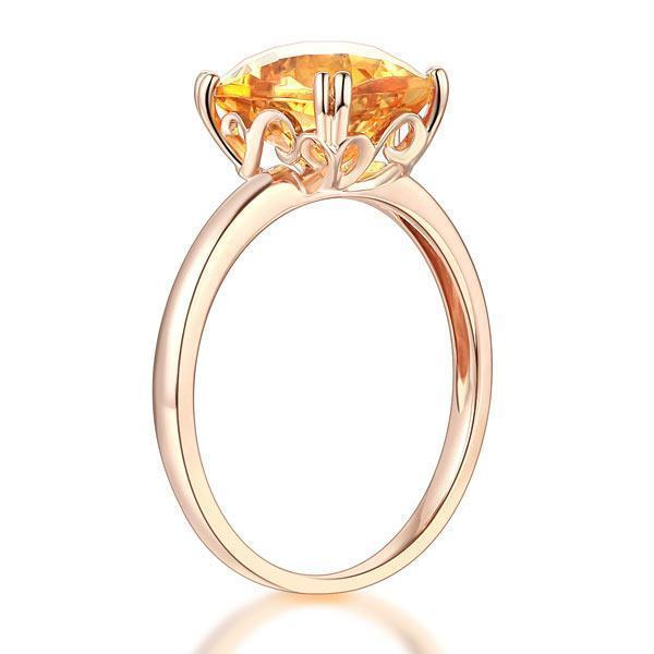Citrine Ring in 14k Rose Gold (3.1ct) 14K Gold Engagement Rings Oanthan