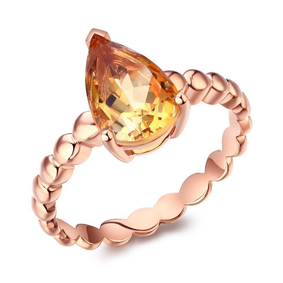 Citrine Solitaire (1.6ct) Ring in 14k Rose Gold 14K Gold Engagement Rings Oanthan 14k White Gold US Size 4