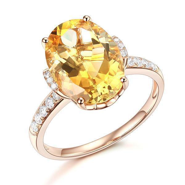 Citrine Solitare (5.2ct) Ring in 14k Rose Gold with Diamonds (0.22ct) 14K Gold Engagement Rings Oanthan 14k White Gold US Size 4